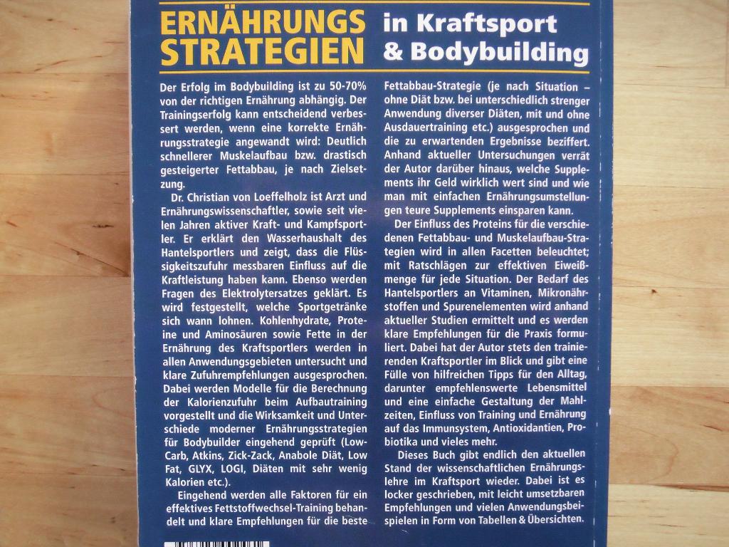 Dr. Christian von Loeffelholz. Ernährungsstrategien in Kraftsport & Bodybuilding. Back-Cover